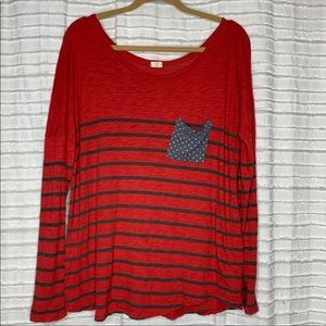 Anthro t.la Red & Gray Pocket Striped Long Sleeve